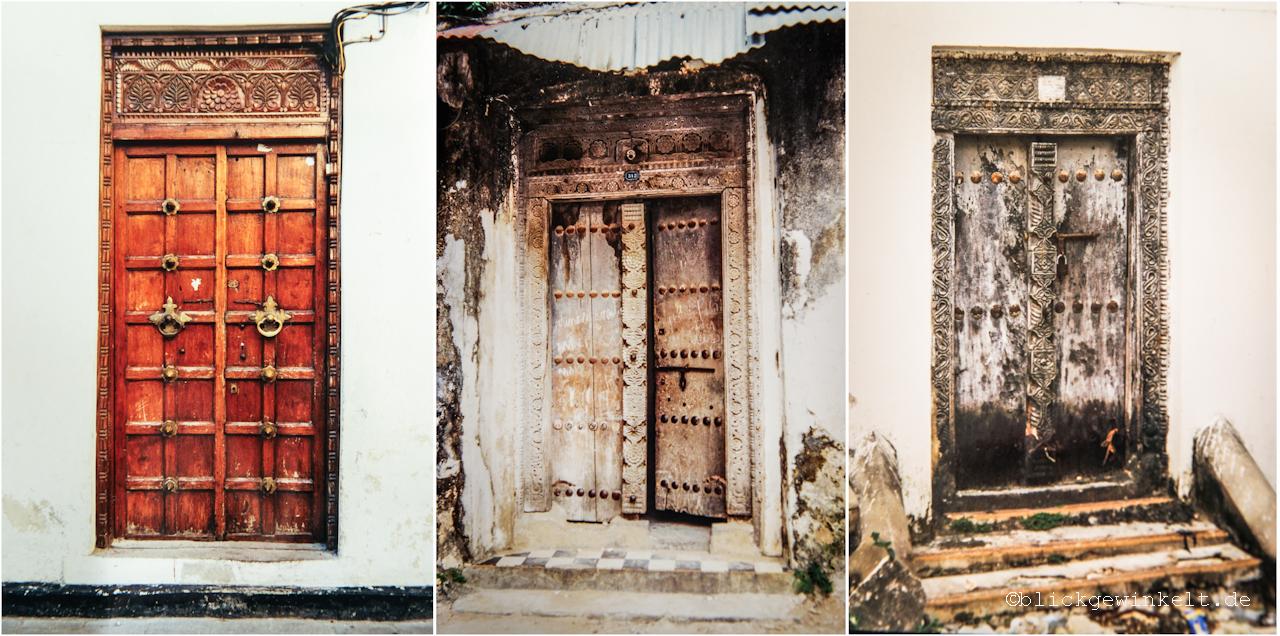 handgeschnitzte Holztüren in Stonetown, Zanzibar
