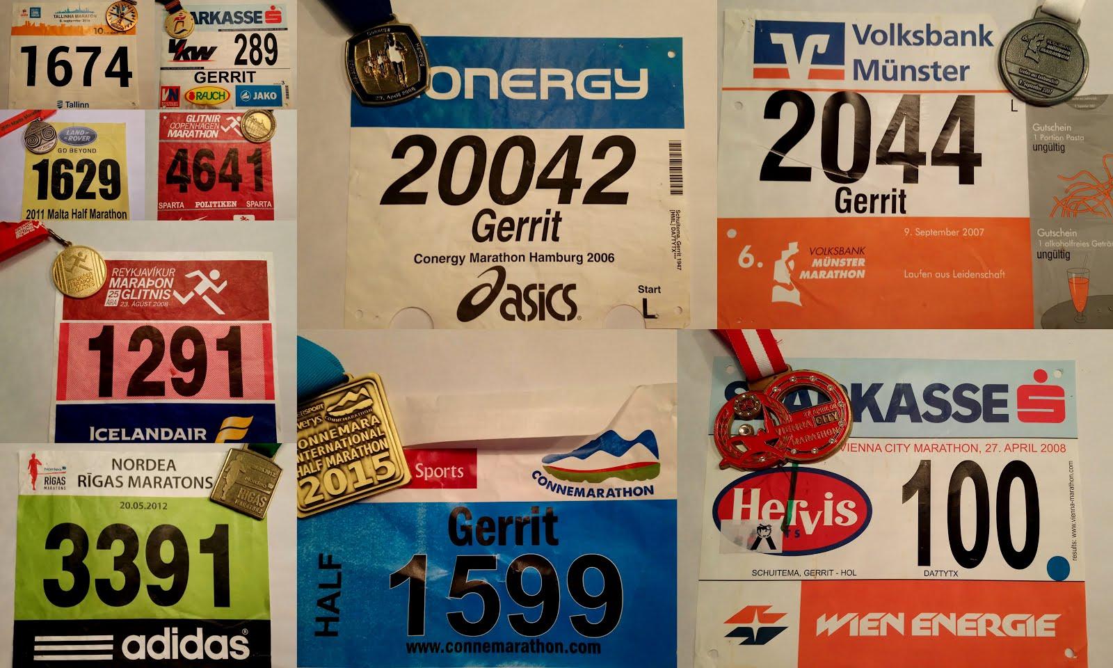 Startnummers en medailles van enkele mooie wedstrijden in het buitenland (w.o. marathons)