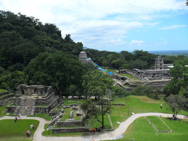 Templo del Sol and Temple XIV in the foreground at Palenque in Mexico
