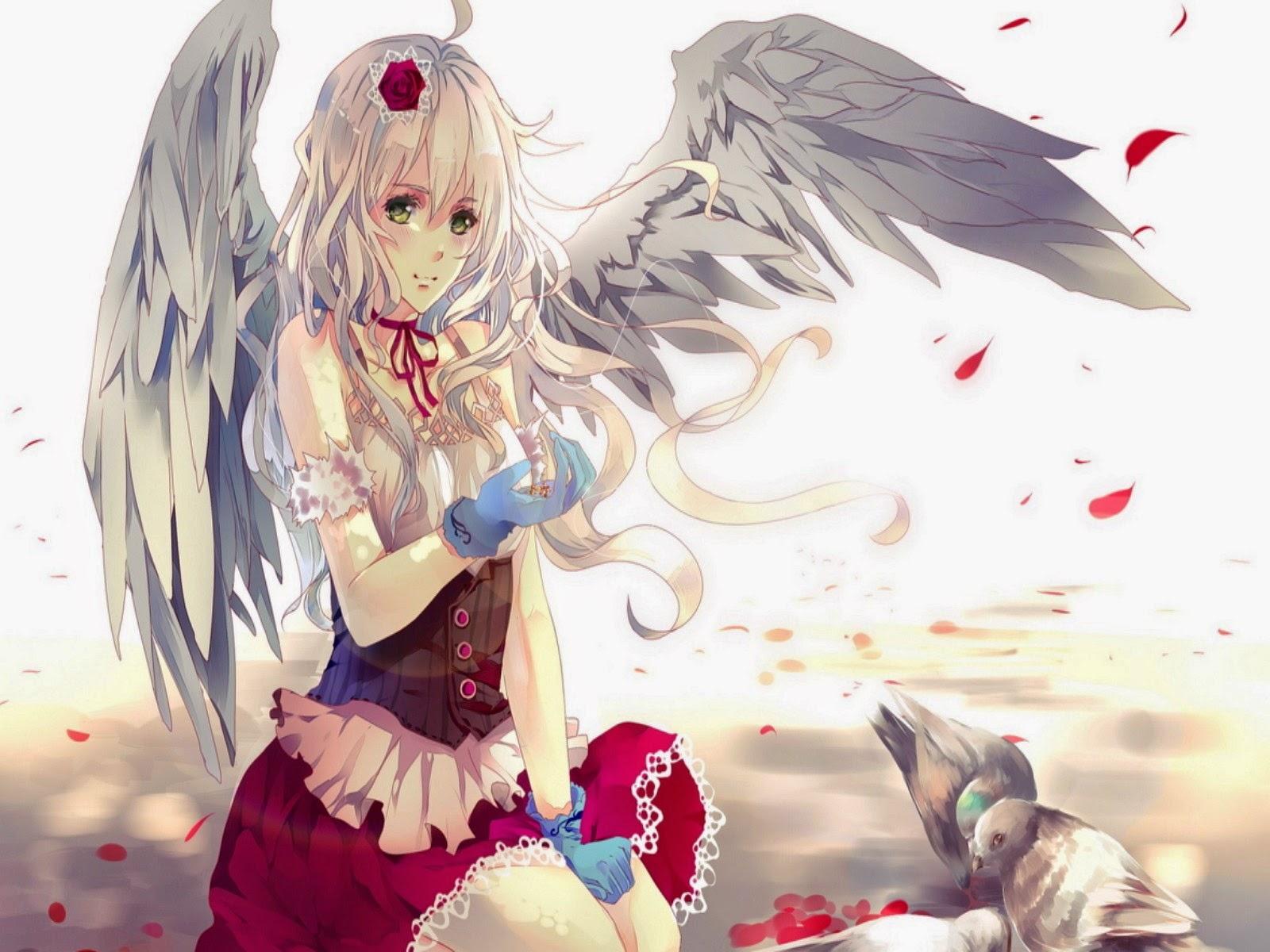 Wallpaper Gadis Anime Bersayap