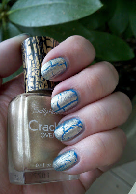 Sally Hansen Antiqued Gold over OPI Ogre the Top Blue