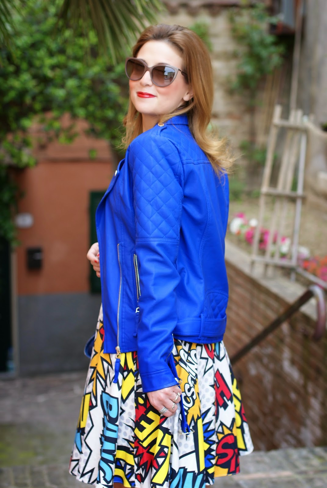 Morgan blue biker jacket, Love Moschino comics dress, Balenciaga city blue, Fashion and Cookies, fashion blogger