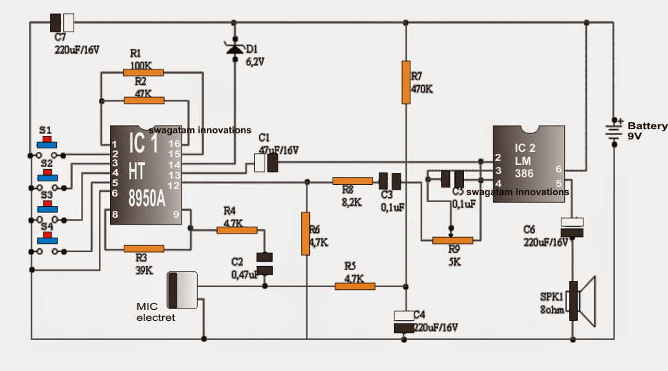 digital voice changer circuit ~ electronic circuit projects, Circuit diagram