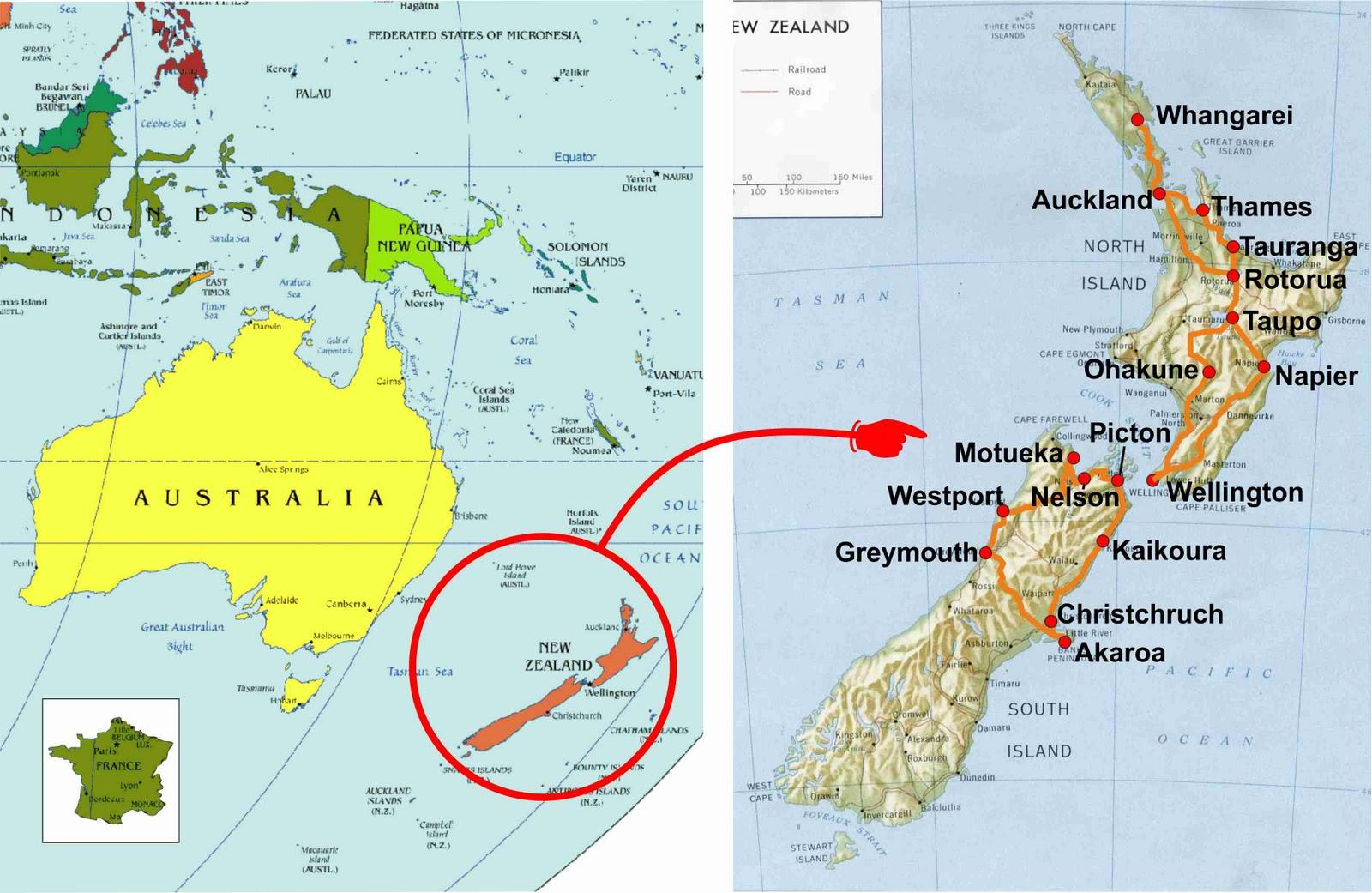 Tour du Monde des Glücks Julien et Thierry: Carte Nouvelle-Zélande