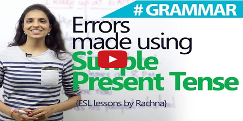 Errors made using 'Simple Present Tense