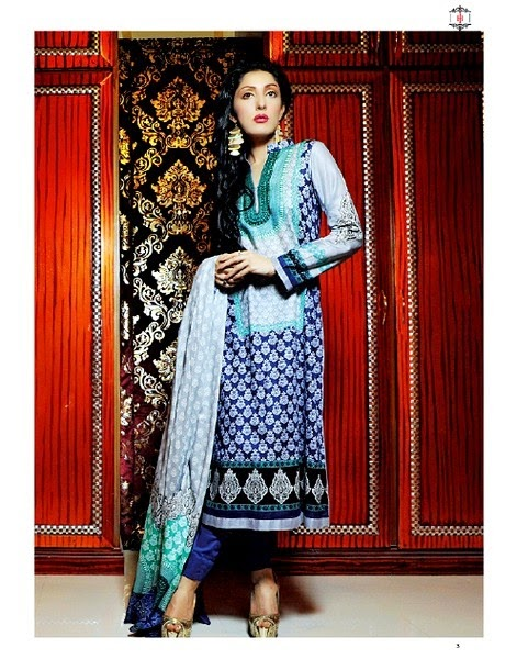 Latest Printed Blue Lawn Dress