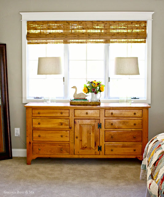 Pine dresser in master bedroom via www.goldenboysandme.com