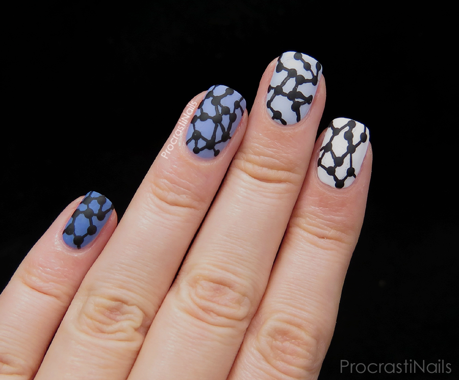 Ombre nail art with China Glaze Fade into Hue and Essie Blanc