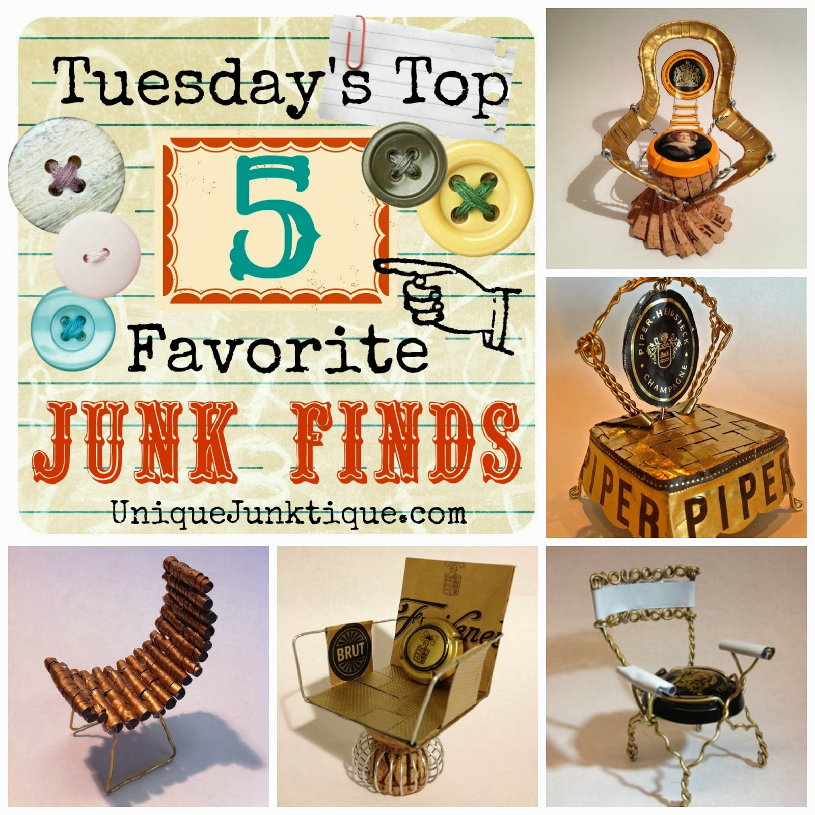 Tuesdays Top Five Favorite Junk Finds #16 Featuring Champagne Cork Chairs