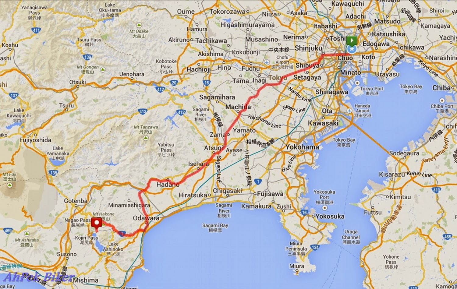 route map of our cycling japan day 6 ride tokyo to hakone click here for map link