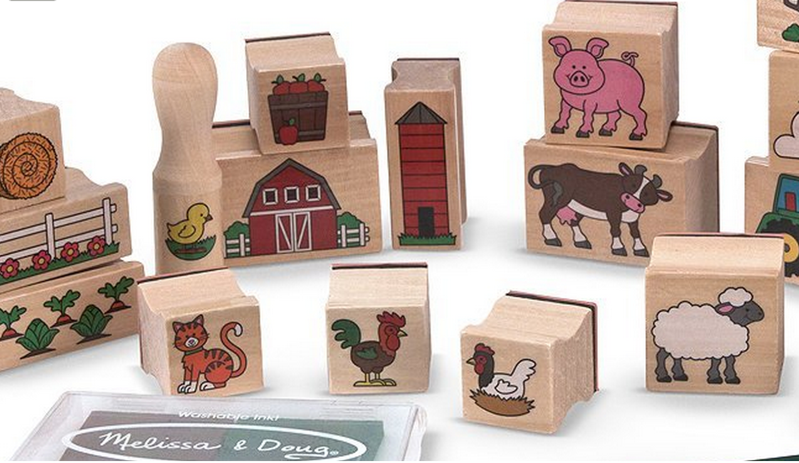 Many Kawartha Lakes Family Farms could be shown using this 20 piece farm stamp set by Melissa and Doug