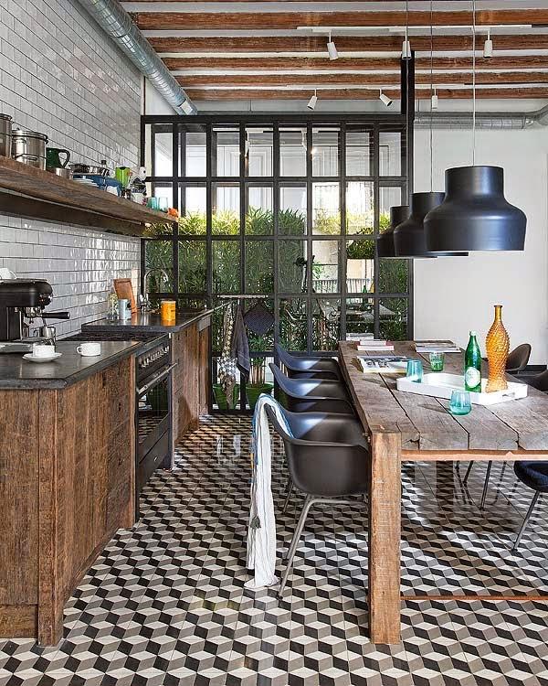 Come fondere cemento, acciaio e legno per una cucina industrial ...