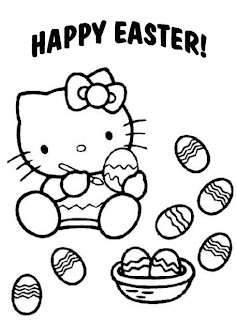 Hello Kitty Happy Easter coloring page for kids