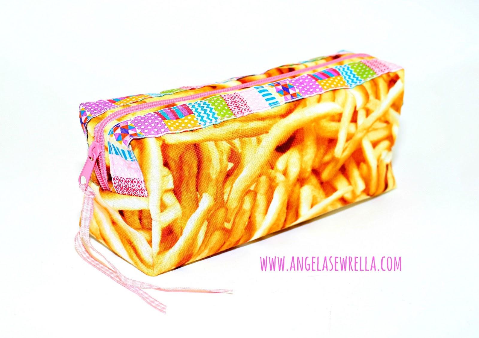Schlampermäppchen aus Pommes-frites-Stoff selbst genäht