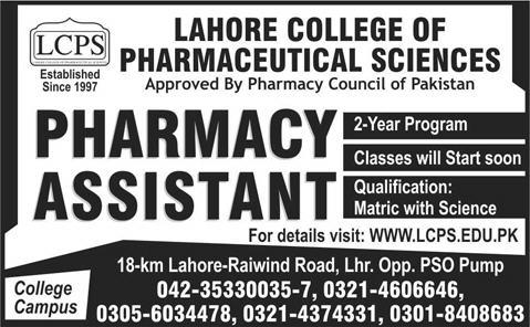 Online PapersPk Pharmacy Assistant College Campus Lahore