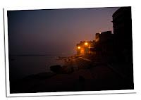 Ganges y puesta de sol en Varanasi