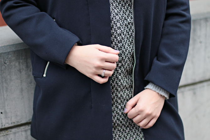 blue grey black outfit combination fall