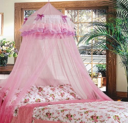 Triple Lace Ruffle Princess Pink Canopy