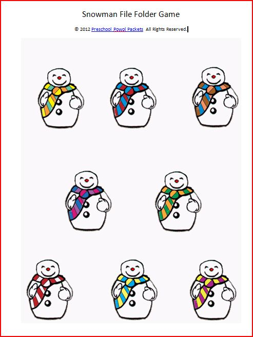Snowman File Folder Game and Writing Practice (free printable ...