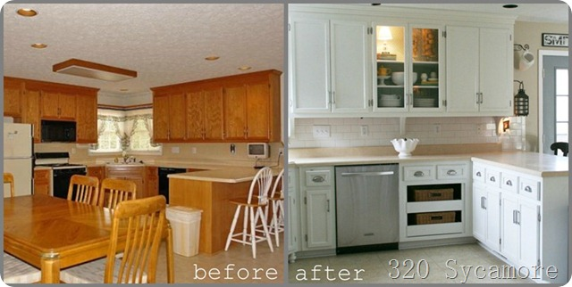 Favorite paint colors painting your kitchen cabinets for Painting wood cabinets white before and after