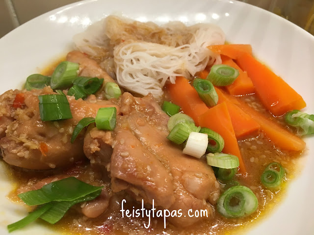 Chicken thigh fillets, garlic, ginger, hoisin sauce, chilli sauce, light soy sauce, rice wine... all combine to make a tender and delicious chicken dish
