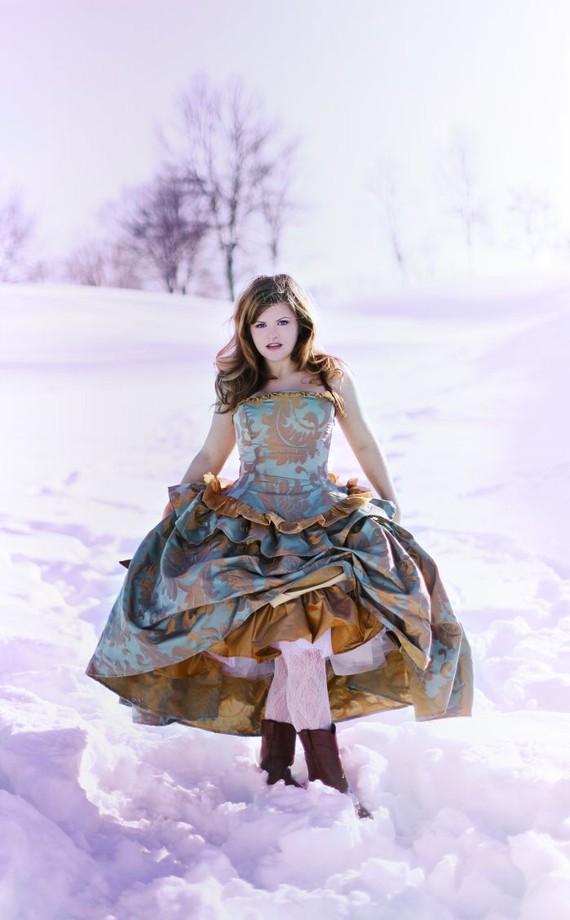 Beautiful Blue and Gold Jacquard Victorian Wedding Dress