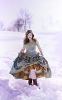 Blue Gold Victorian Wedding Dress
