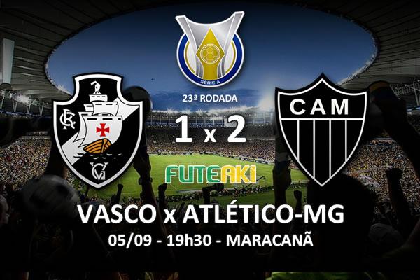 Veja o resumo da partida com os gols e os melhores momentos de Vasco 1x2 Atlético-MG pela 23ª rodada do Brasileirão 2015.