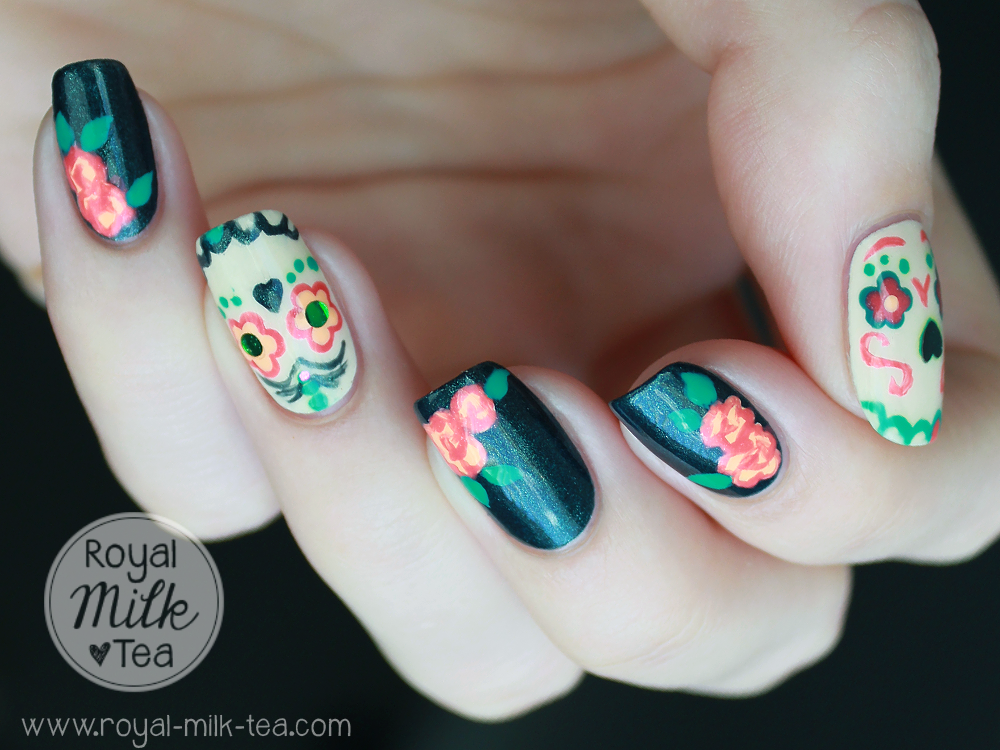 Royal milk tea dia de los muertos sugar skull nail art cozy sweaters and warm spices red and golden leaves pumpkin everything and delightful spooky holidays like halloween and dia de los muertos day of the prinsesfo Gallery