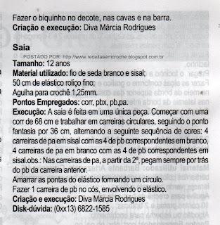 RECEITA DE BLUSA DE SAIA DE CROCHÊ PARA CRIANÇA