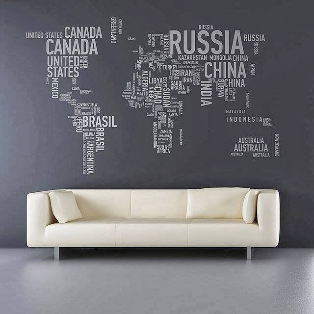A perfect combination – a typographical world map wall sticker by maxginez3
