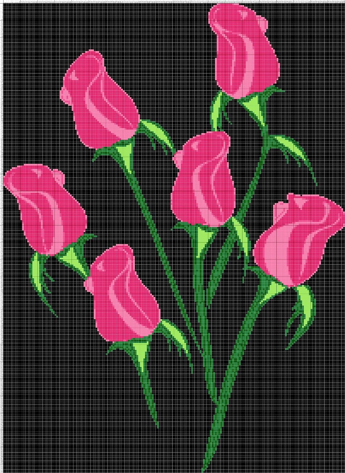 Gambar Pola Kristik Enam Bunga Mawar Merah Muda