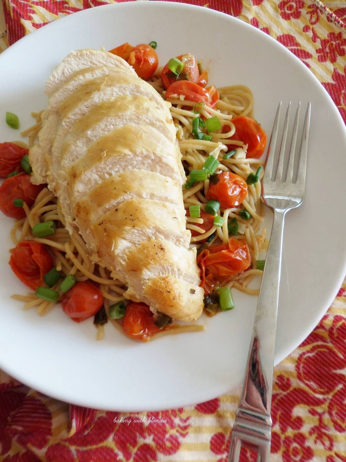 Pan Seared Chicken Breast With Whole Grain Pasta And Cherry Tomatoes