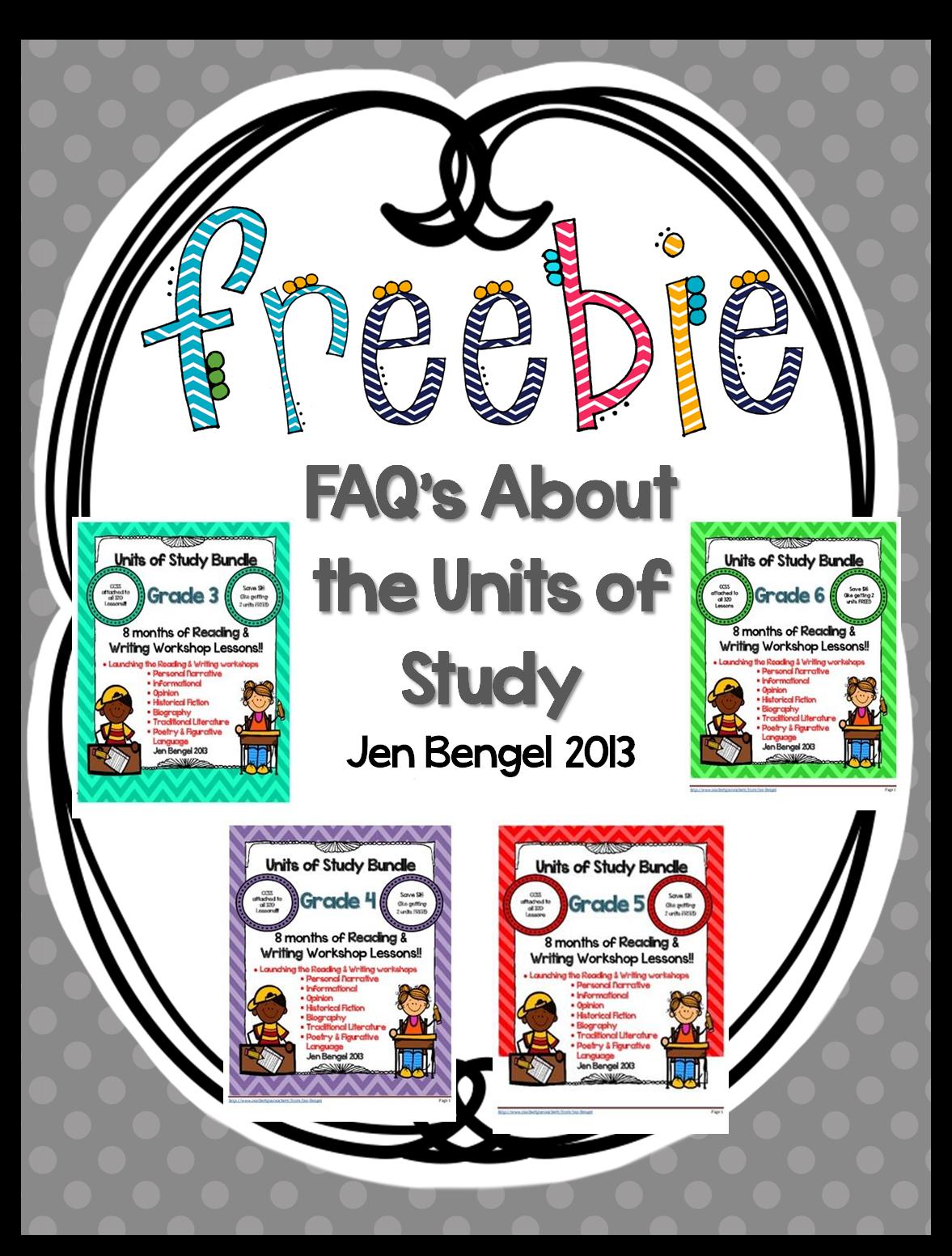 http://www.teacherspayteachers.com/Product/FAQs-About-the-Units-of-Study-Freebie-816559