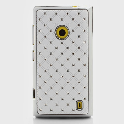 Bling Diamond Starry Sky Plated Hard Case for Nokia Lumia 520 525 - White