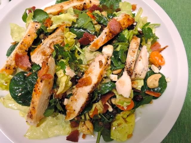 The Briny Lemon: Grilled Chicken Salad with Warm Maple-Bacon Dressing