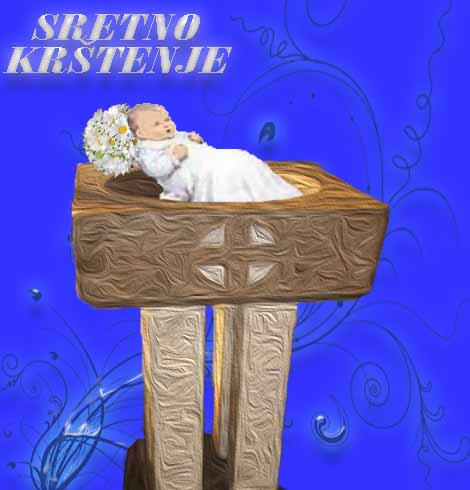 Čestitka za krštenje Krstionica i beba