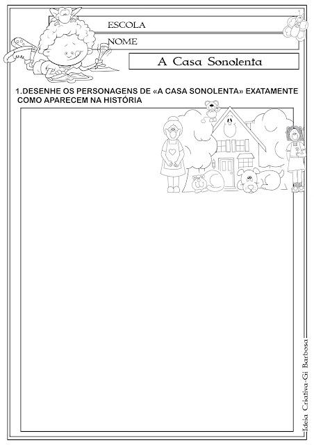 Atividade A Casa Sonolenta - Releitura de obra.
