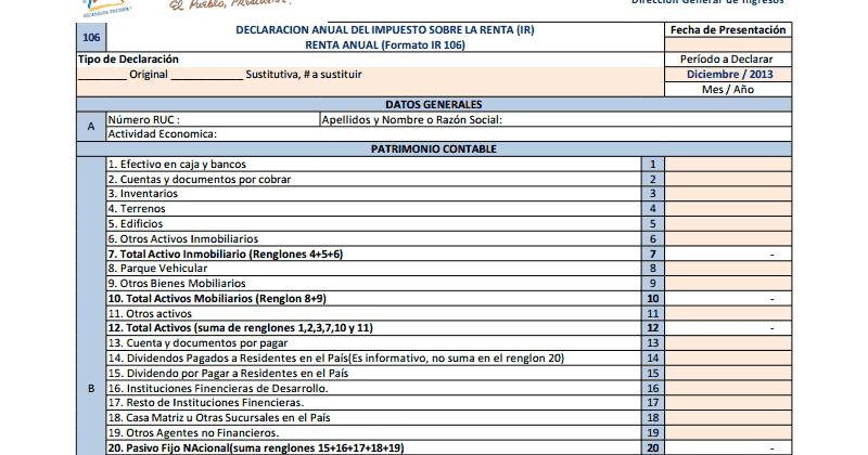 Consultas de Interés: DGI: Formato en Excel - Declaración del IR ...