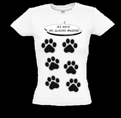 "Camiseta manga corta para mujer ""Amor gatuno"" color blanco"