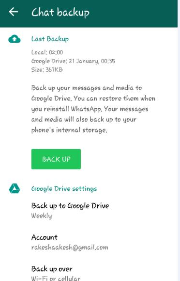 गूगल ड्राइव में व्हाट्स एप चैट बैकअप