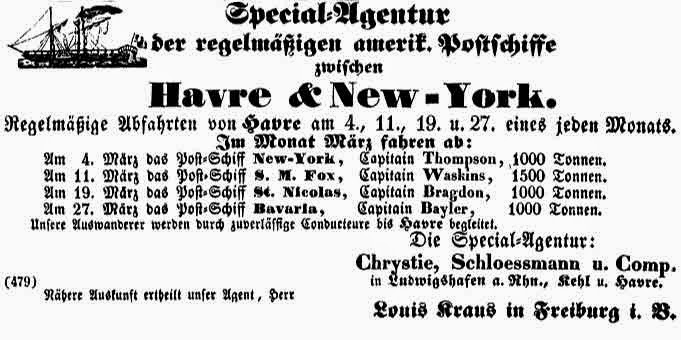 Climbing My Family Tree: Ad shown in Freiburg for package voyage between Le Havre and New York, 1856