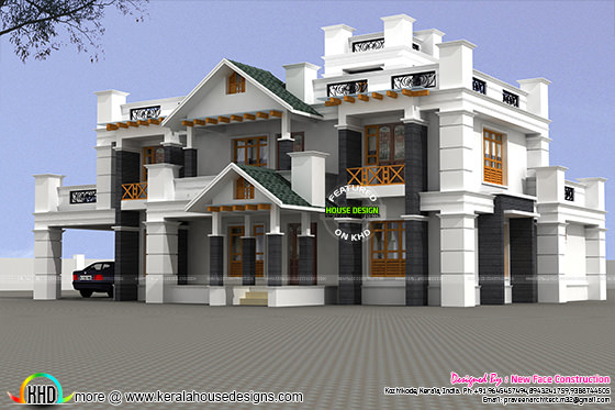 Highly decorative home designin Kerala