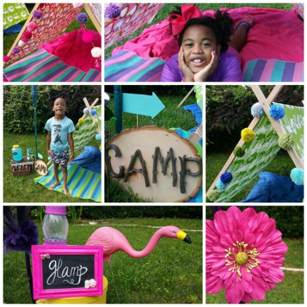 camping, glamping, boy camp, girl camp, flamingo, yarn pompom, camping ideas
