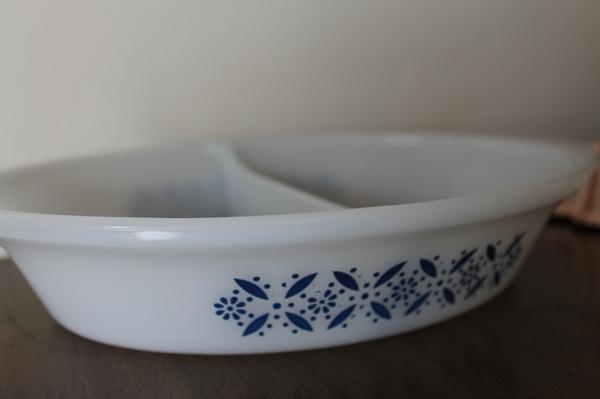 vintage blue pyrex casserole dish