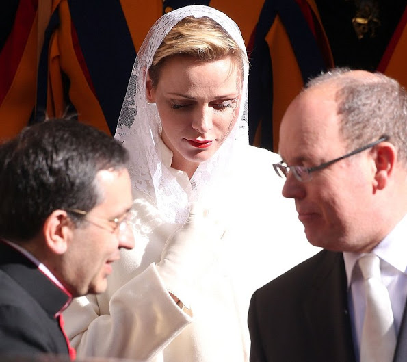 Prince Albert And Princess Charlene Of Monaco At The Apostolic Palace