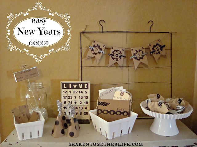 easy New Years decor with kraft, black, white & silver