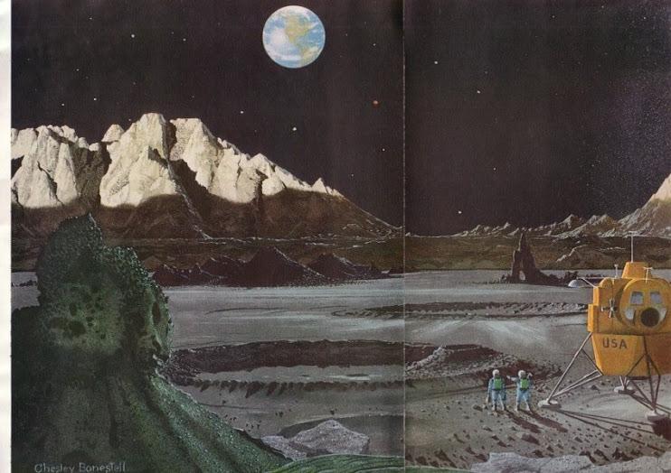 Bonestell: an artistic vision of moonlanding