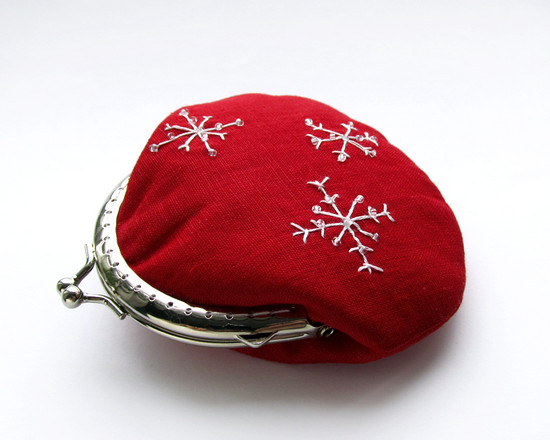 coin purse, snowflakes, кошелек с вышивкой