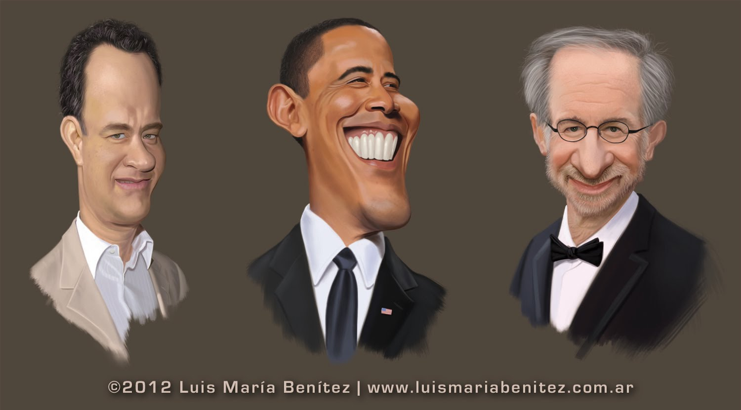 Caricatures: Tom Hanks, Barack Obama and Steven Spielberg / caricaturas © Luis María Benítez